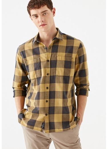 Mavi Kareli  Gömlek Sarı